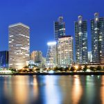 Bangkok city downtown at night with reflection of skyline, Bangk